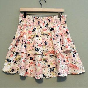 Maison Jules Tiered Floral Skirt - Size Medium